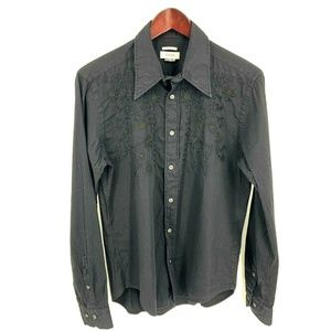 Versace Collection Black Embroidered Dress Shirt